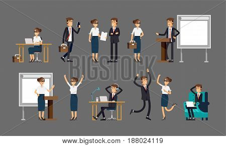 Set of business people and situations. Presentation, agreement, work at the computer. Vector illustration in a flat style. Women and men character.