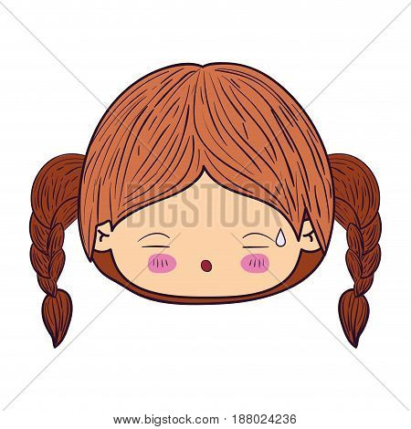 colorful caricature kawaii face little girl with braided hair and facial expression tired vector illustration