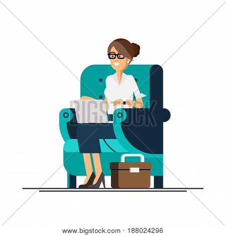 Young adult woman working at home vector concept illustration. Freelancer female character working from home with laptop sitting in cozy armchair with a cup of tea or coffee. Home office. Remote work