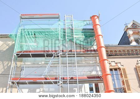 Construction scaffolding of a building under renovation.