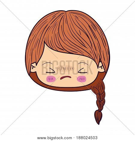colorful caricature kawaii face little girl with braided hair and facial expression angry with closed eyes vector illustration