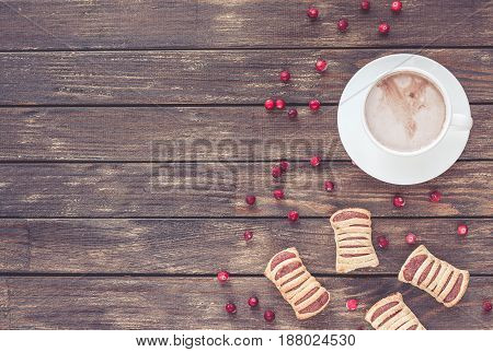 Cookies, Cranberry And Cacao On Dark Wooden Background. Flat Lay.
