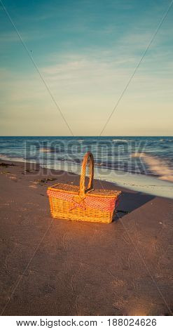 Picnic basket at the beach in Prince Edward Island