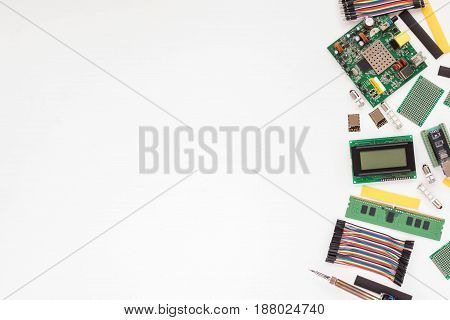 Electronic Components On White Background. Flat Lay.