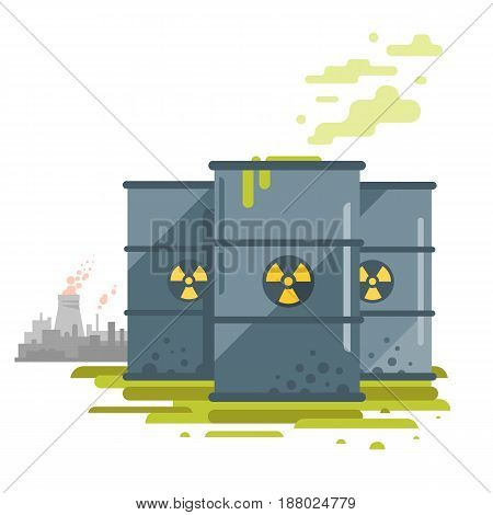 Three barrels of toxic radioactive waste, radiation pollution from nuclear power plant, ecological disaster, dirty toxic effluents, environmental pollution, isolated