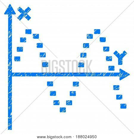 Grunge Dotted Sine Plot icon with grunge design and dirty texture. Unclean vector blue pictogram for rubber seal stamp imitations and watermarks. Draft emblem symbol.