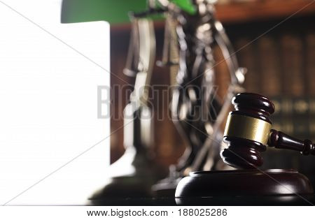 Law concept. Lawyers office. Mallet of the jugde. Scale of justice. Statue of justice. Legal code.
