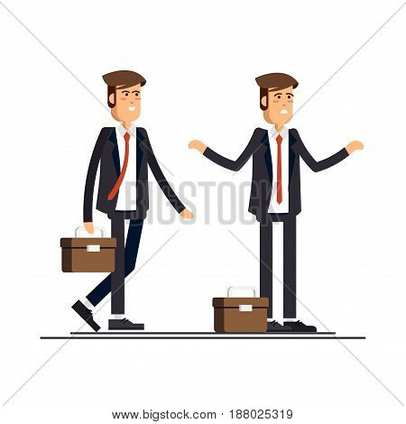 Vector flatt illustration of character in good and bad mood. Businessman showing happy and sad feeling emotions