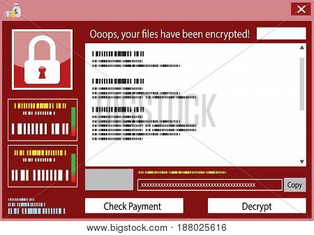 malware attack. ransom malware name is wanna cry,  cyber virus attack the world, Ransom ware virus encrypted lock file and show for bitcoin payment, vector illustration.