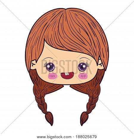 colorful caricature kawaii face little girl with braided hair and smiling vector illustration