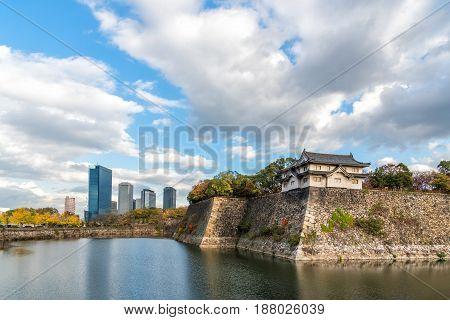 Osaka castle and Osaka urban area in autumn.