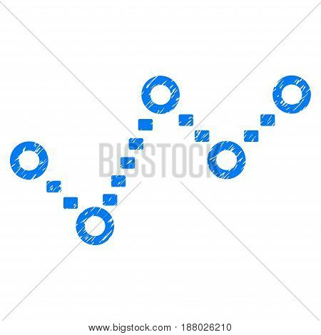 Grunge Dotted Trend icon with grunge design and dirty texture. Unclean vector blue pictogram for rubber seal stamp imitations and watermarks. Draft sign symbol.