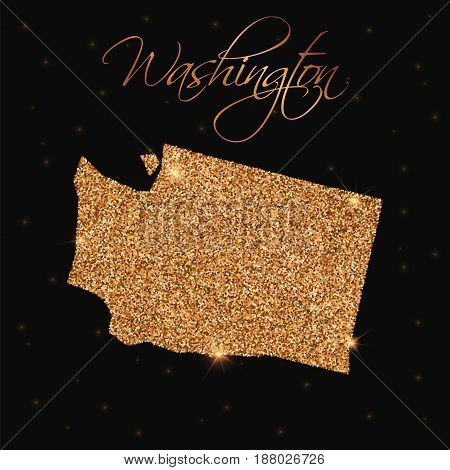 Washington State Map Filled With Golden Glitter. Luxurious Design Element, Vector Illustration.