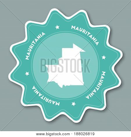 Mauritania Map Sticker In Trendy Colors. Star Shaped Travel Sticker With Country Name And Map. Can B