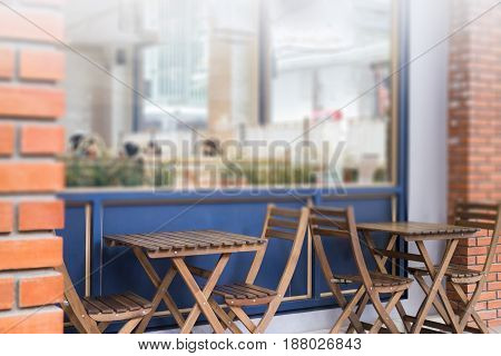 Wooden Furniture Set Of Street Coffee Shop stock photo
