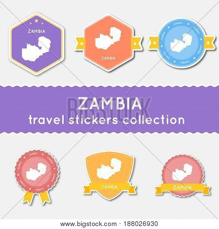 Zambia Travel Stickers Collection. Big Set Of Stickers With Us State Map And Name. Flat Material Sty