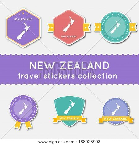 New Zealand Travel Stickers Collection. Big Set Of Stickers With Country Map And Name. Flat Material