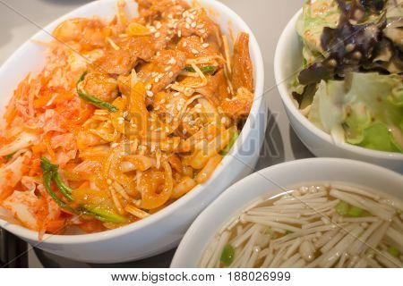 Spicy Korean Styled Pork With Rice stock photo