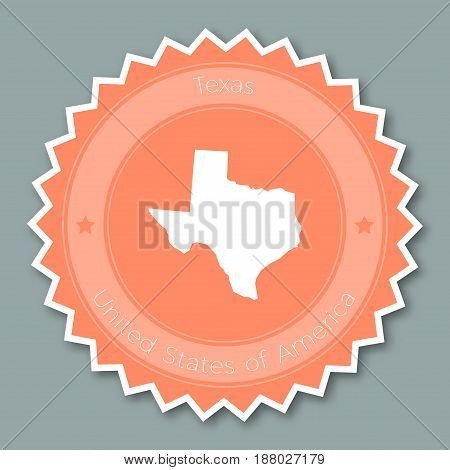 Texas Badge Flat Design. Round Flat Style Sticker Of Trendy Colors With The State Map And Name. Us S