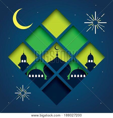 Selamat Hari Raya Aidilfitri vector illustration with traditional malay mosque.
