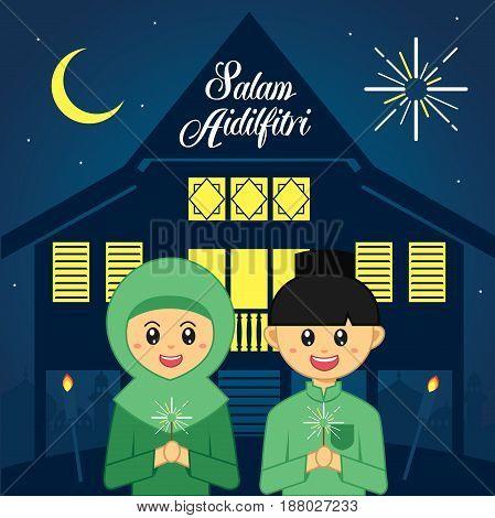 Selamat Hari Raya Aidilfitri vector illustration. Cute muslim boy and girl with traditional malay village house / kampung. Caption: Fasting Day of Celebration