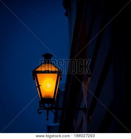 Glow of a street light in Krems Austria