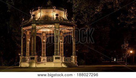 Gazebo in a park at night in Krems Austria
