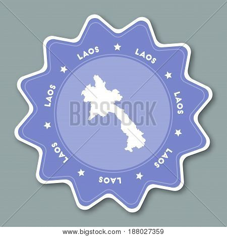 Lao People's Democratic Republic Map Sticker In Trendy Colors. Star Shaped Travel Sticker With Count