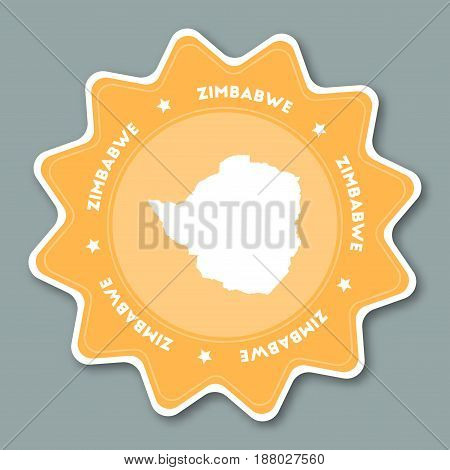 Zimbabwe Map Sticker In Trendy Colors. Star Shaped Travel Sticker With Country Name And Map. Can Be