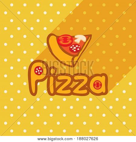Vector poster in flat style with slice of pizza on the background of the tablecloth with polka dots. Template for flyers banners invitations brochures and covers.