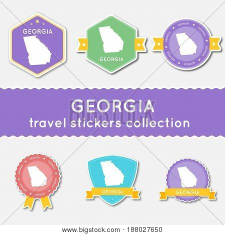 Georgia Travel Stickers Collection. Big Set Of Stickers With Us State Map And Name. Flat Material St