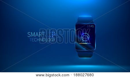Smart watch. Smart technology. Cloud storage vector illustration