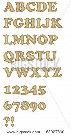 The decorative uppercase alphabet and numbers in gritty outline design