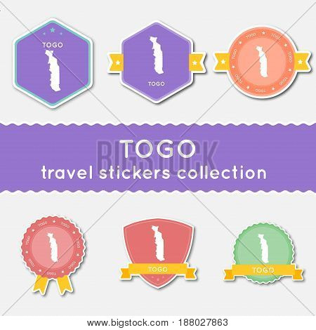 Togo Travel Stickers Collection. Big Set Of Stickers With Country Map And Name. Flat Material Style