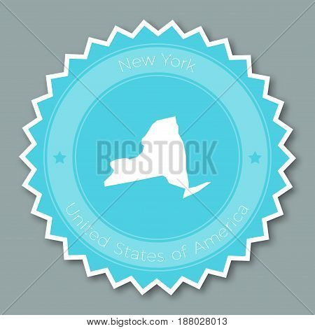 New York Badge Flat Design. Round Flat Style Sticker Of Trendy Colors With The State Map And Name. U