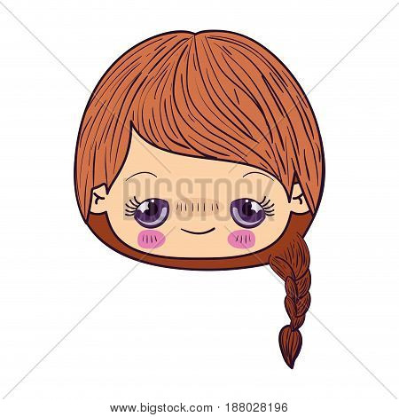 colorful caricature kawaii face little girl with braided hair and embarrassed facial expression vector illustration