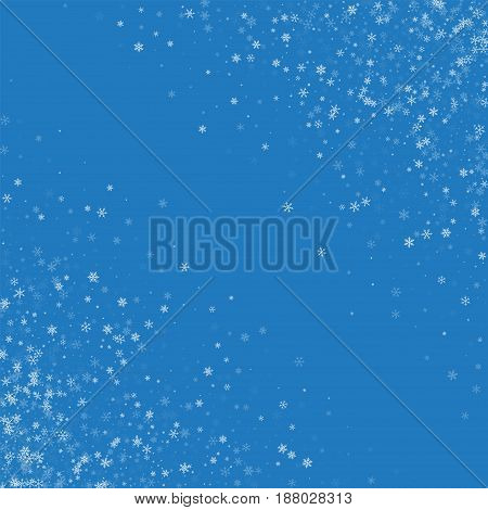 Beautiful Snowfall. Abstract Chaotic Mess On Blue Background. Vector Illustration.