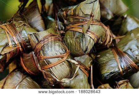 closeup of chinese traditional food rice dumplings