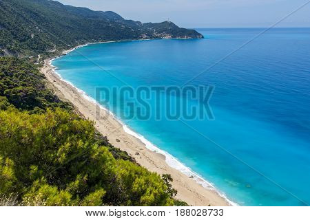 Amazing Panoramic view of Kokkinos Vrachos Beach with blue waters, Lefkada, Ionian Islands, Greece