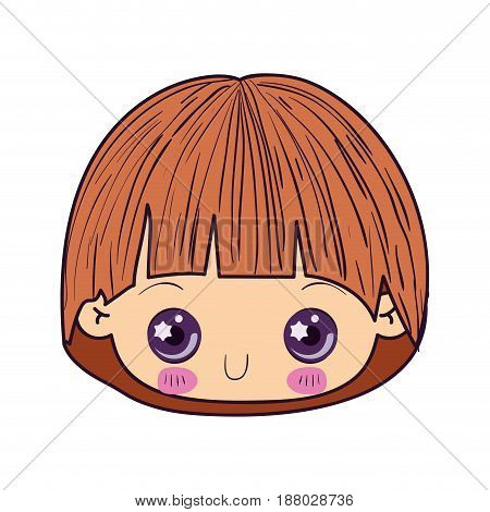 colorful caricature kawaii cute little boy face vector illustration