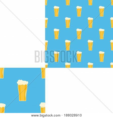 Seamless pattern blank with goblets of beer on the blue background with pattern unit.