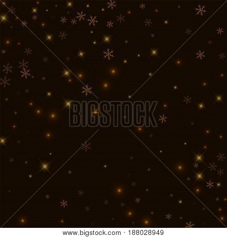 Sparse Starry Snow. Abstract Scattered Pattern On Black Background. Vector Illustration.