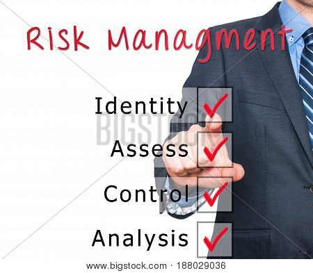 Businessman Hand Checking The Checklist Boxes Risk Management Identity Assess Control Analysis By Pe