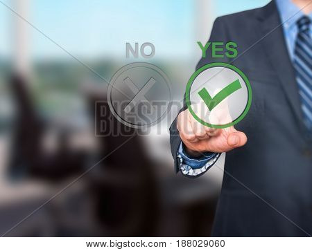 Hand Of Businessman Press Yes Button