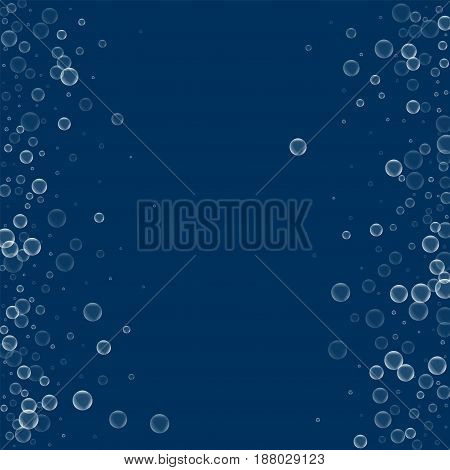 Soap Bubbles. Scattered Frame With Soap Bubbles On Deep Blue Background. Vector Illustration.