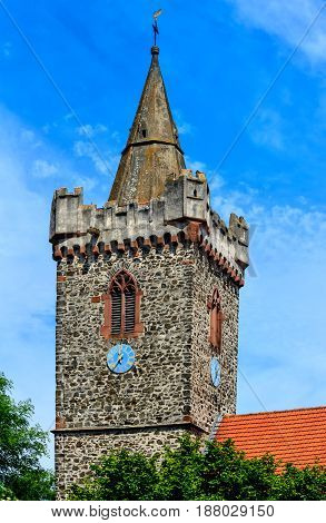 The Protestant James Church in Bruchkoebel (built 1392) close to Hanau, its tower is the landmark of the city, Hesse, Germany