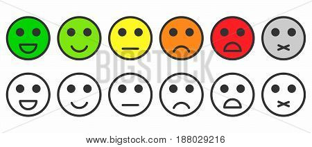 Rating satisfaction. Feedback in form of monochrome and colorful emotions smileys emojis. Excellent good normal bad awful silent. Vector
