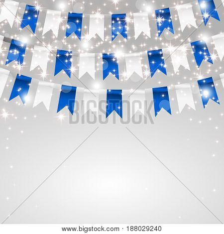 Holiday card. Making flags in the colors of the flag of Bavaria