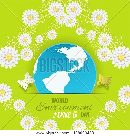 Vector World Environment Day poster on the gradient green background with globe insert in paper pocket text butterflies and branches with white flowers.