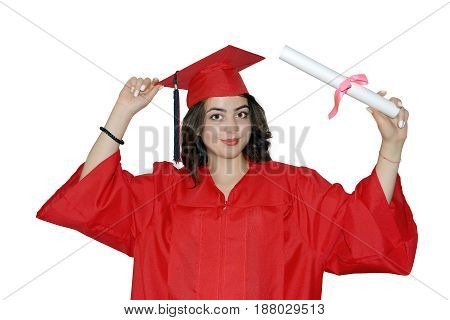 photography with scene of the beautiful girl student with diploma on white background